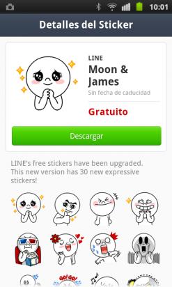 Instala los stickers predeterminados en LINE