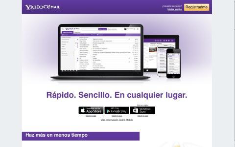 Interfaz de inicio de Yahoo! mail