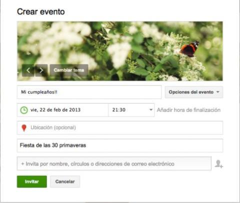 Crea un evento en un local de Google Plus