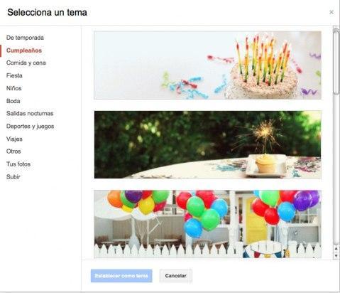 Elige el tema en Google Plus