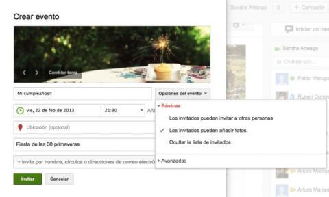 Configura las opciones básicas del evento en Google Plus