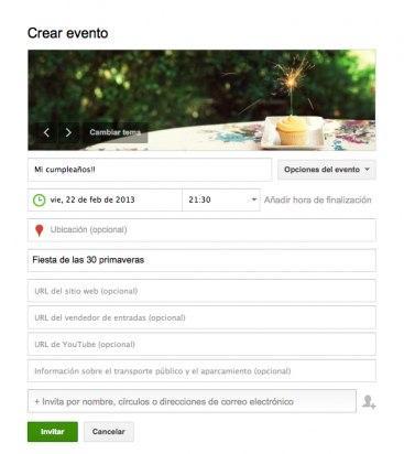Configura las opciones avanzadas del evento en Google Plus