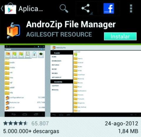 AndroZip File Manager es gratuito y está en Google Play