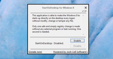 Pulsa en Enable de StartOnDesktop para cambiar al escritorio clásico de forma predeterminada.