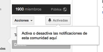 Activa las notificaciones de la comunidad en Google Plus