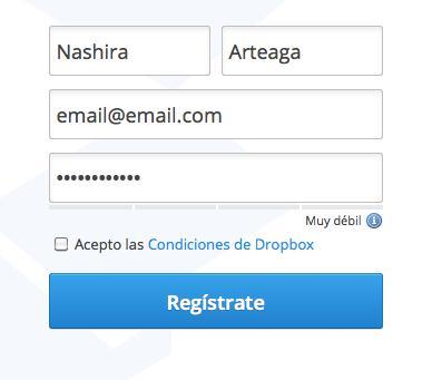 Cumplimenta el formulario de registro de Dropbox