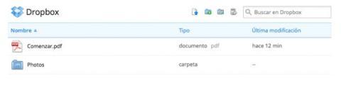 Accede a Dropbox vía web