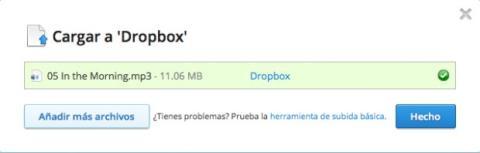 Coloca archivos en tu carpeta de Dropbox