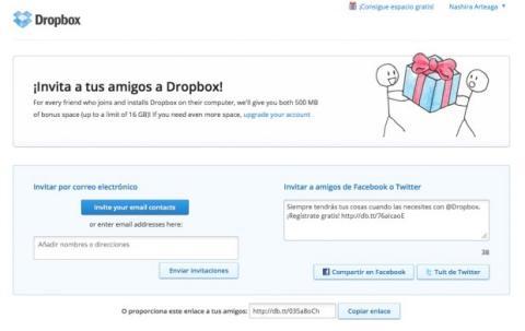 Invita a amigos a Dropbox