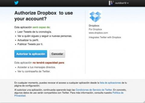 Conecta tu cuenta de Twitter a Dropbox
