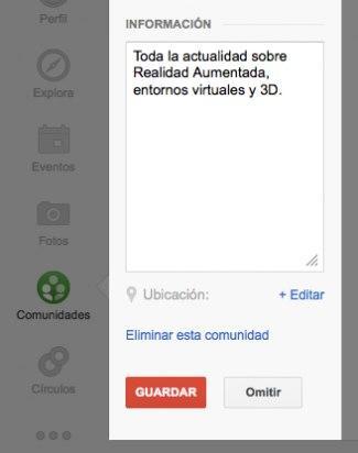 Incluye descripción y ubicación de tu comunidad en Google Plus