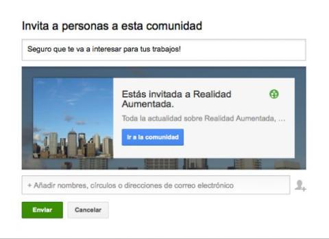 Invita a personas a la comunidad de Google Plus