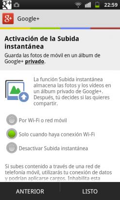 Activa la subida instantánea de fotos en la app de Google Plus