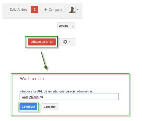 añadir tu sitio web a google webmaster tools