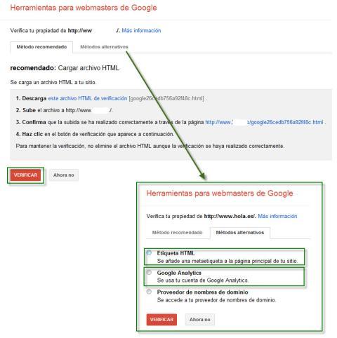 verificar la propiedad del sitio en google webmaster tools