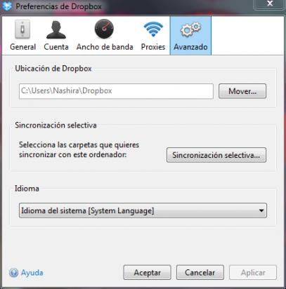 Ajusta las preferencias de Dropbox en Windows