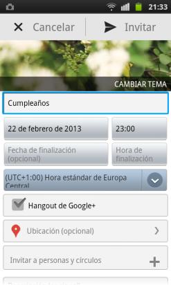 Crea un evento en la app de Google Plus