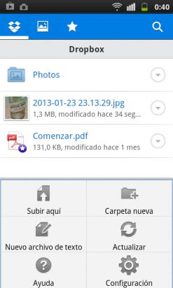 Crea carpetas y sube archivos en la app de Dropbox