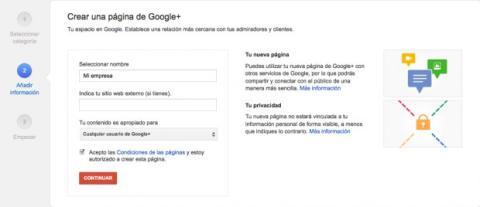 Introduce los datos de la empresa en Google Plus