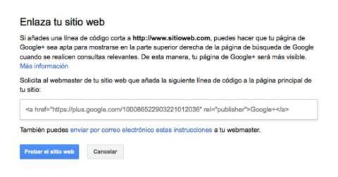 Enlaza tu sitio web a la página de tu empresa en Google Plus