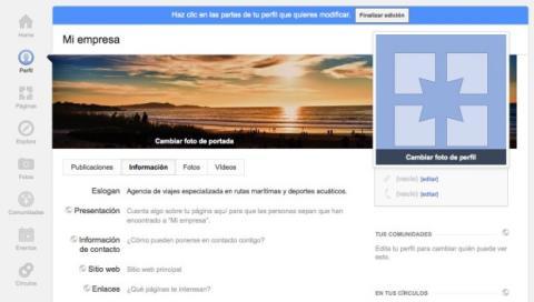 Configura las opciones de fotos y vídeos en la página de Google Plus