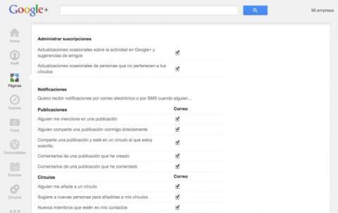 Configura las opciones de la página en Google Plus
