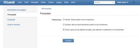 Ajusta la privacidad en tu página de Tuenti