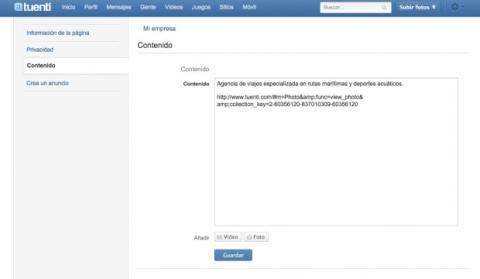 Incluye fotos y vídeo en la descripción de tu página de Tuenti