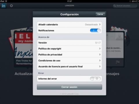 Configura las opciones de LinkedIn en iPad