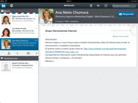 Mensajes y notificaciones en la app de LinkedIn para iPad