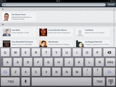 Navega por tus contactos en la app de LinkedIn para iPad
