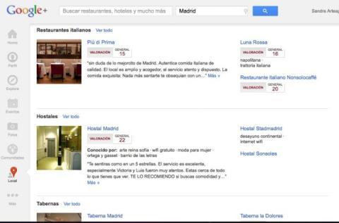 Consulta las recomendaciones por categorías en Local de Google Plus
