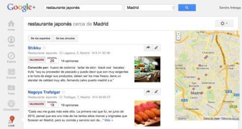 Explora las categorías y los resultados en Local de Google Plus