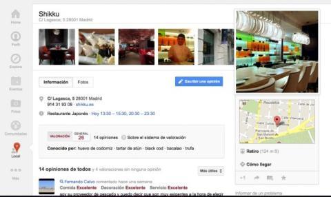 Accede a la ficha de un local en Google Plus