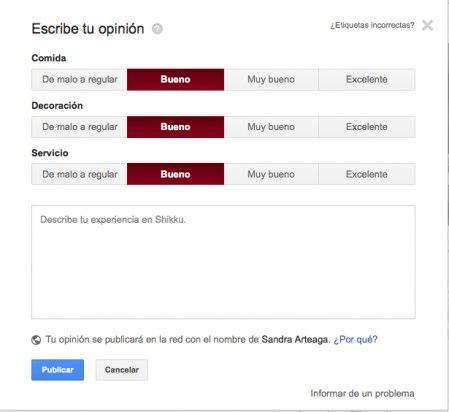 Escribe una opinión en un local de Google Plus