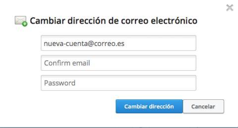 Modifica los datos personales y el correo en Dropbox