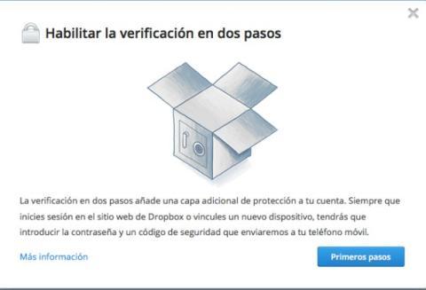 Activa la verificación en dos pasos en Dropbox