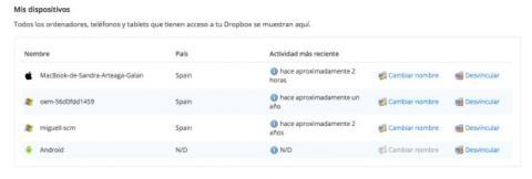 Administra tus dispositivos en Dropbox
