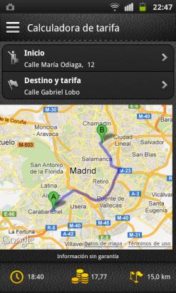 Visualiza la ruta, el tiempo y la tarifa en MyTaxi