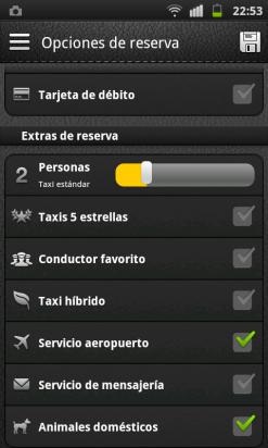 Ajusta las opciones en MyTaxi