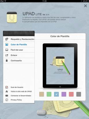 Elige el color de la plantilla en UPAD Lite