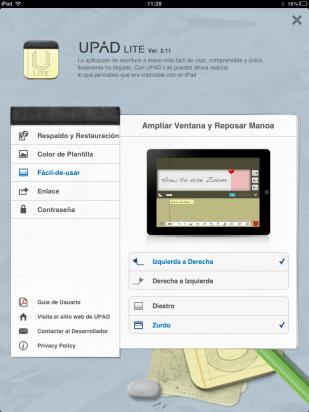 Configura la escritura manual en UPAD Lite