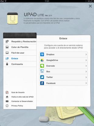 Configura un servicio externo en UPAD Lite