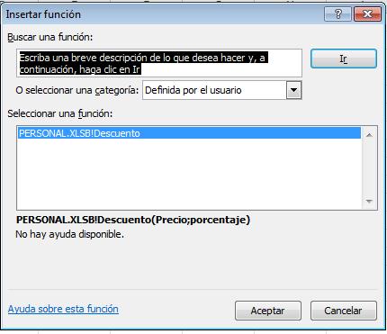 Seleccionar la función definida por el usuario