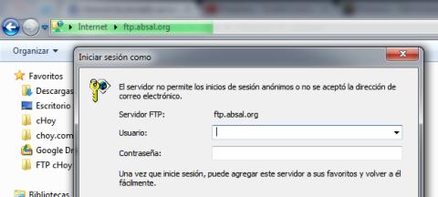Ingresa tus credenciales de usuario del FTP en el diálogo