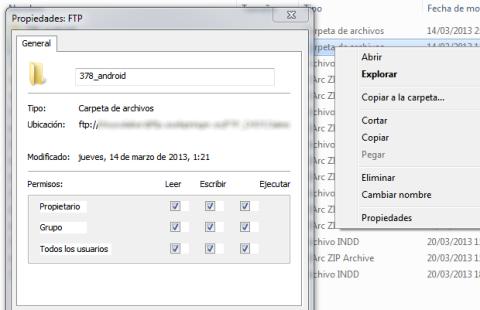 Puedes cambiar los permisos CHMOD desde Windows