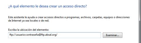 Escribe la dirección del FTP en el diálogo