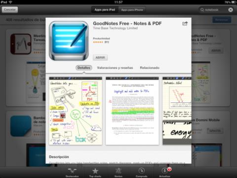 Descarga e instala GoodNotes Free en tu iPad
