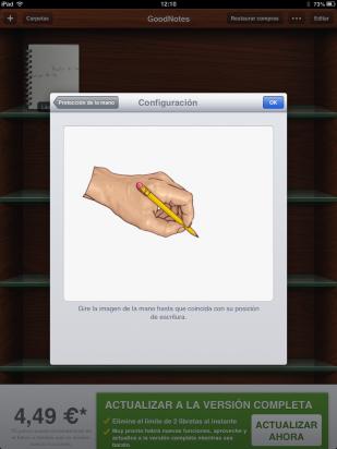 Configura la protección de la mano en GoodNotes Free