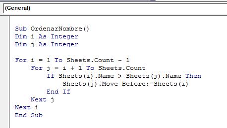 Código VBA para ordenar pestañas
